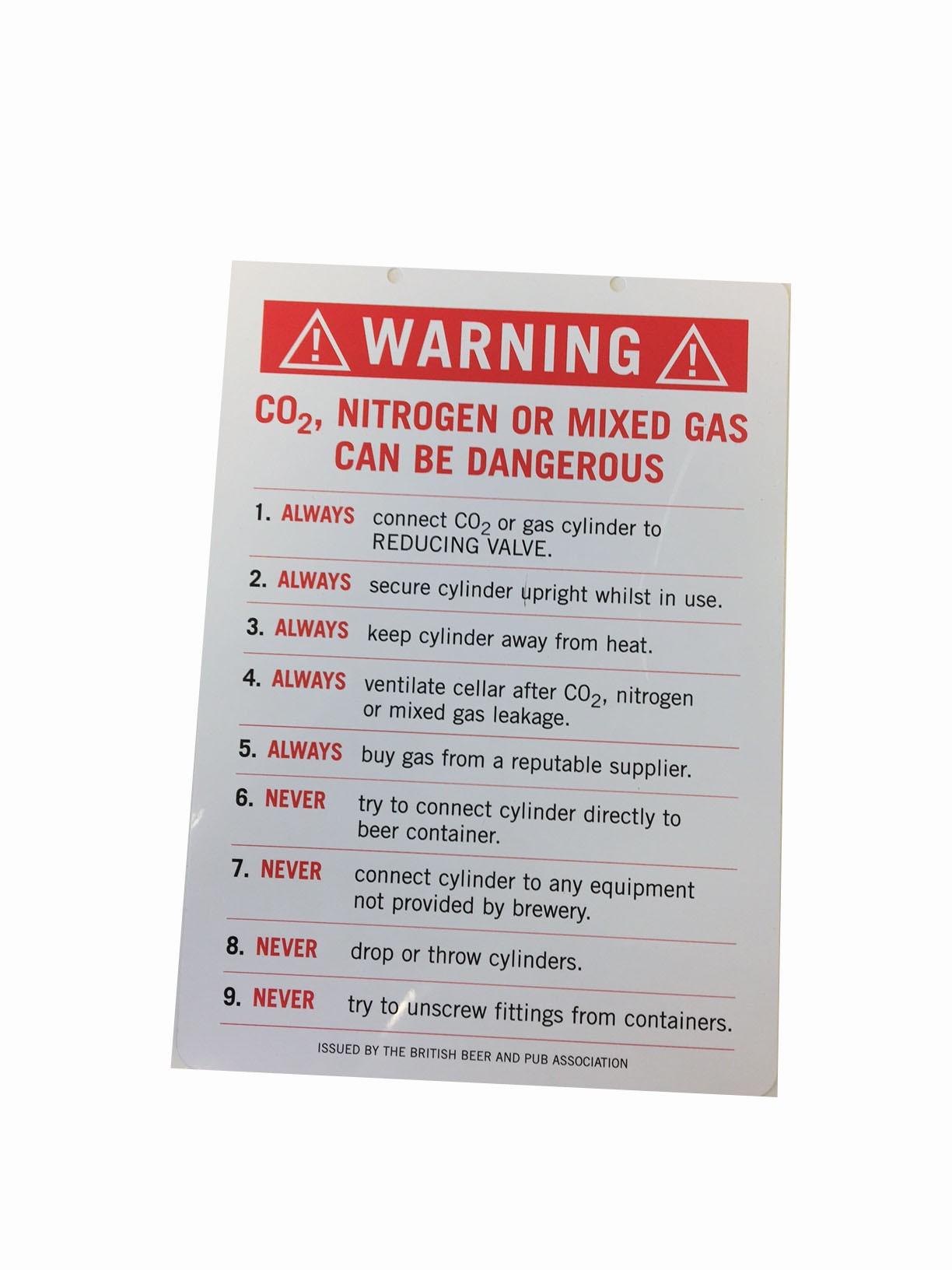 Gas Warning Card For Beer Cellars