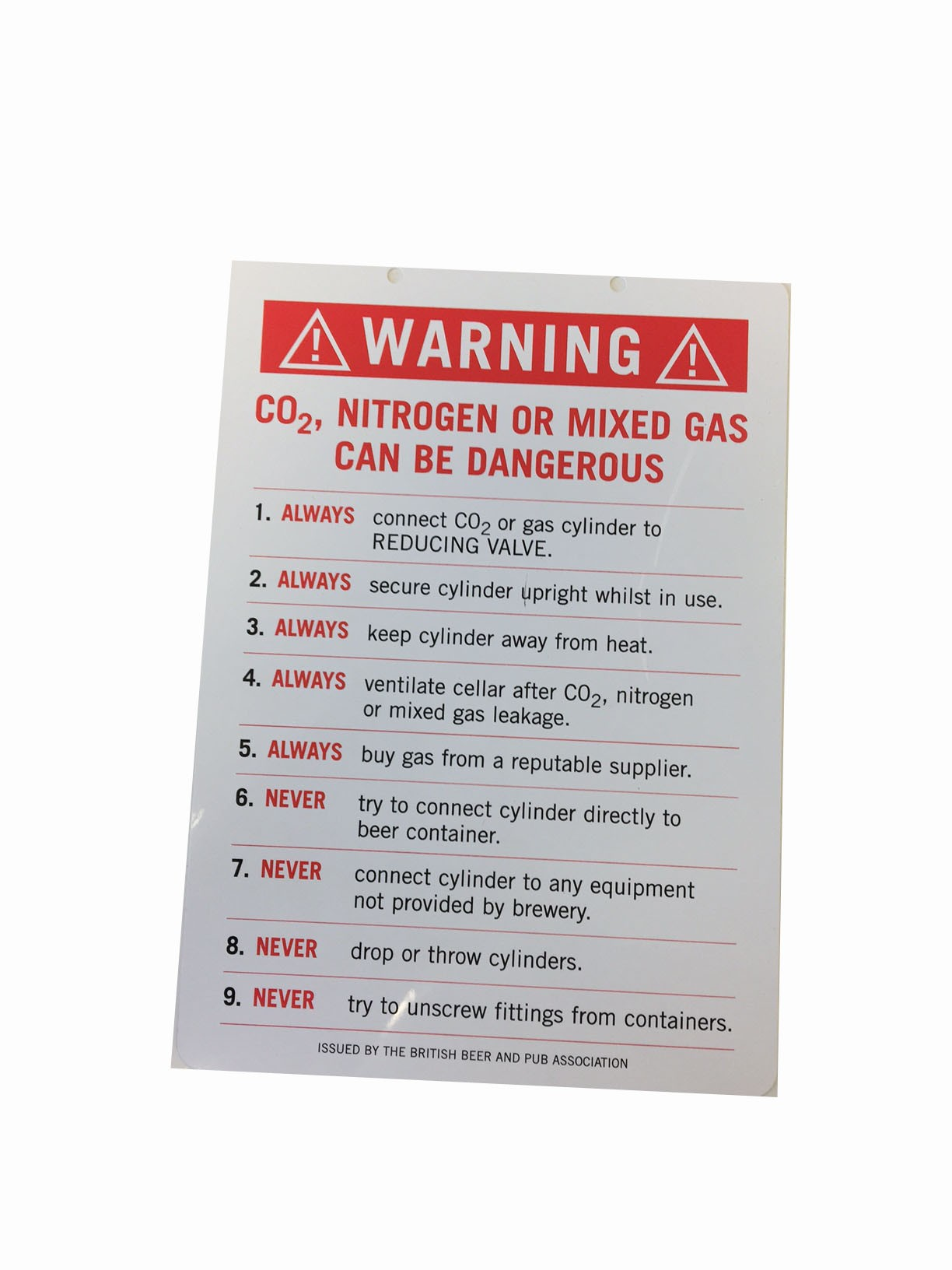 Gas Warning Card  sc 1 st  Laws Drinks Systems & Gas Warning Card for Beer Cellars